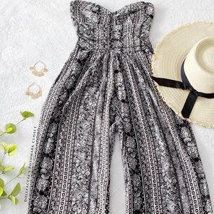 Black + White Paisley Strapless Jumpsuit w/Pockets